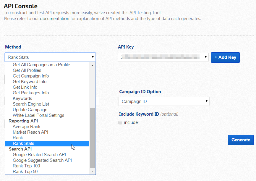 API Console - API Testing Tool | Rank Ranger