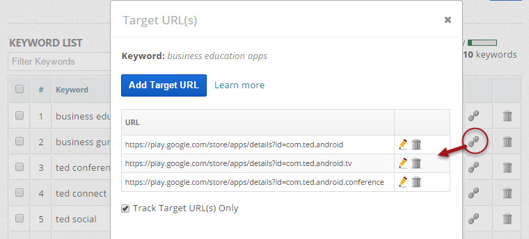 confirmation of Keyword Target URL import