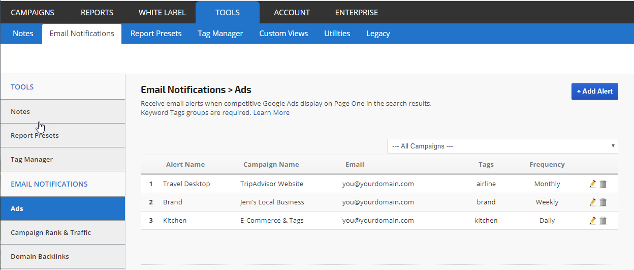 Create an AdWords alert