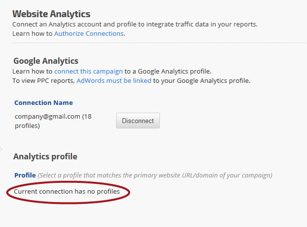 Google Analytics connections with no profiles