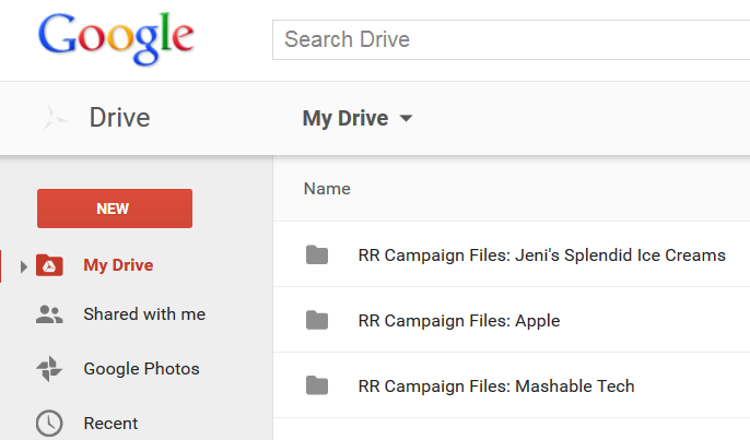 Rank Ranger campaign folders in Google Drive