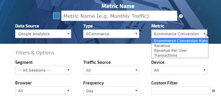 Select Analytics metric