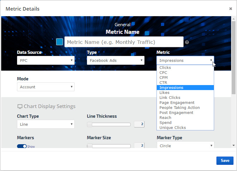 Facebook Ads metrics graph settings