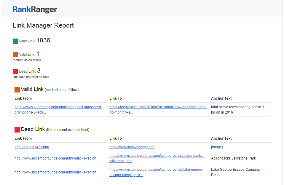 Link Manager Report by Email