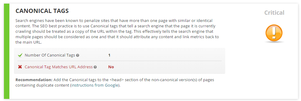 Analysis of Canonical Tag