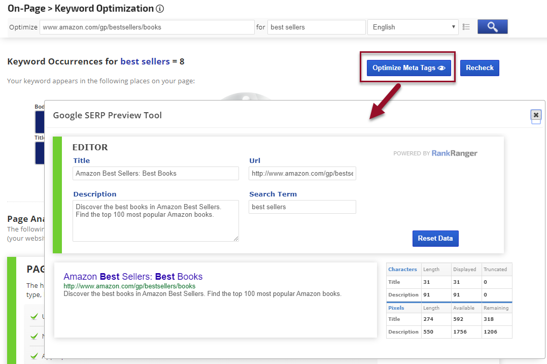 On Page SEO Optimization Screen