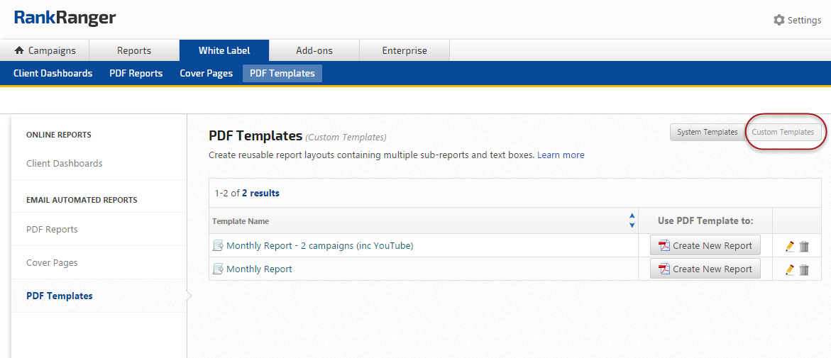 Custom PDF Report templates