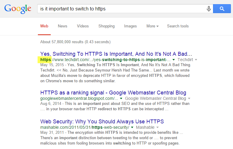 HTTPS indicator in Google search results
