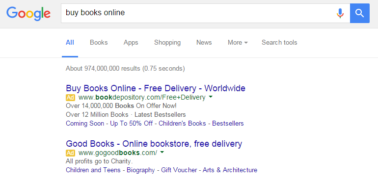 Paid results in Google SERPs