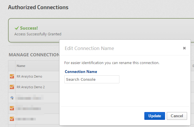 edit search console connection name