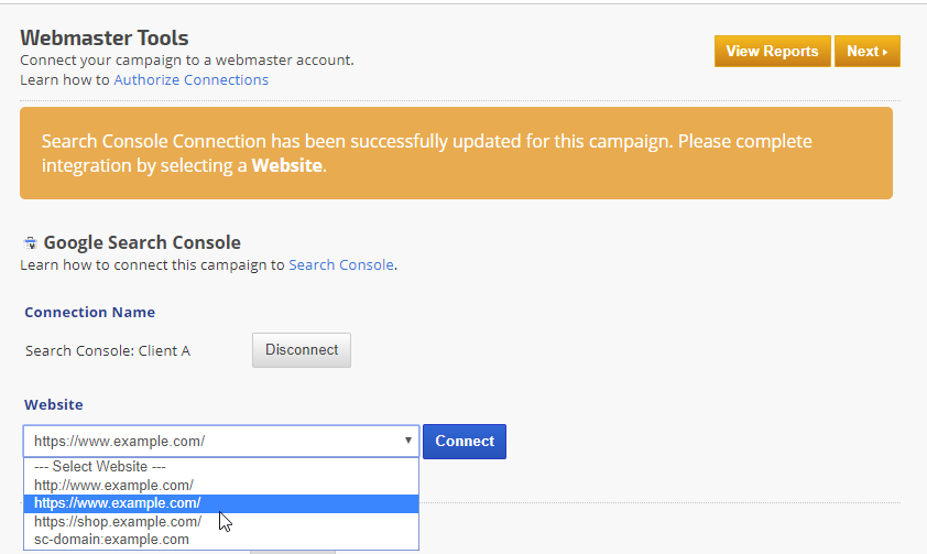 Disconnect website webmaster tools