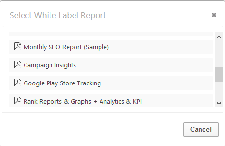 Select a PDF Report to add new report or graph