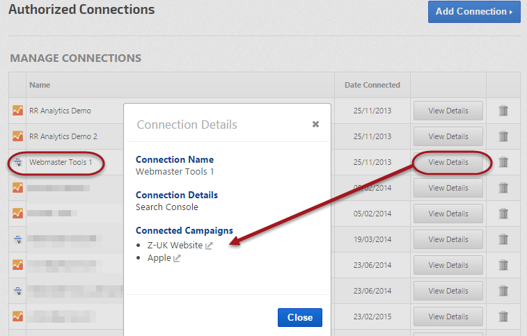 Webmaster Tools connected campaigns