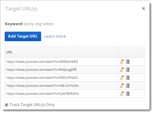 YouTube rank tracking with target url