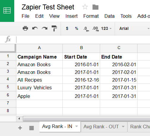 Zapier Rank Ranger Average Rank App input Google Sheet