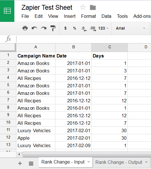 Rank Change Zapier App triggered by Google Sheet