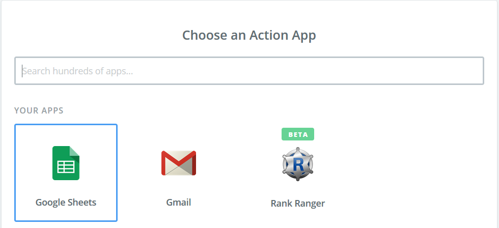 Choose an Action App for data output