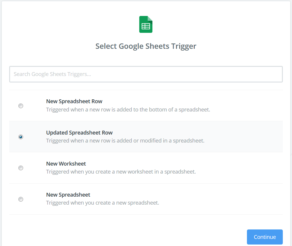 Select a Google Sheets Trigger