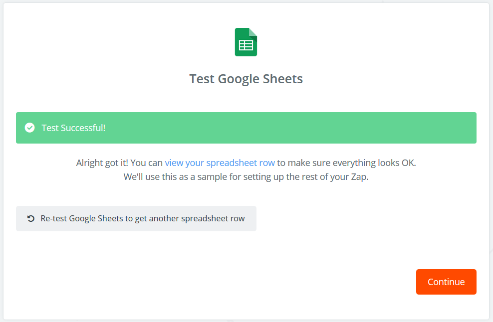 Google Sheets successfully set up