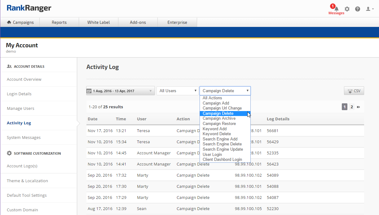 Account Activities Log