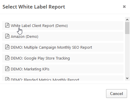 select white label report