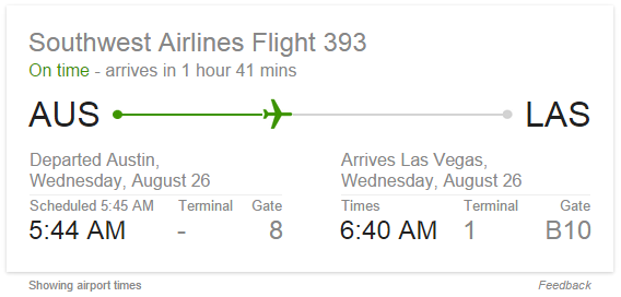 Current Flight SERP Answer Box