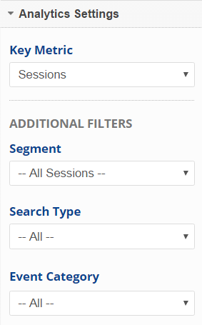 select Google Analytics metric segment search type and event category