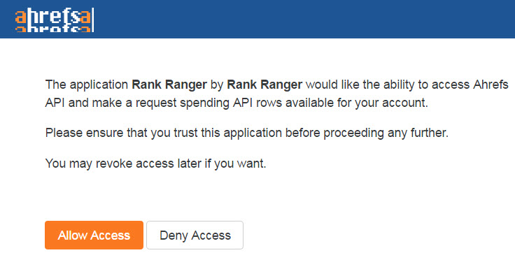 allow Rank Ranger app access to ahrefs