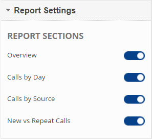 Call Metrics Overview Report Toggle Switches