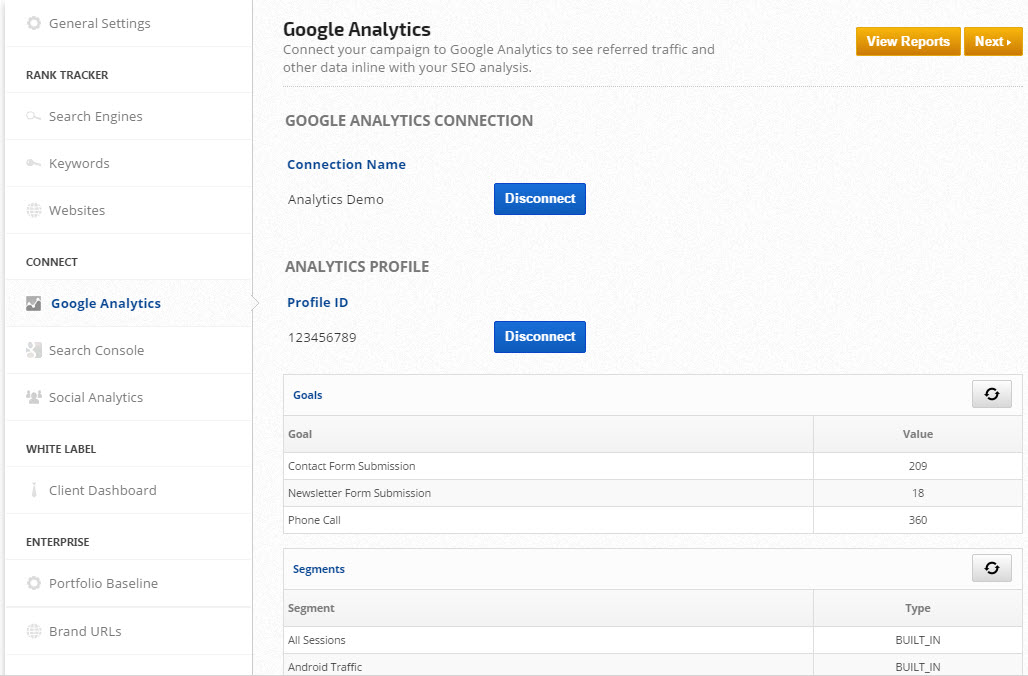 connect Google Analytics