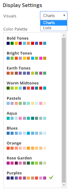 Display Settings Charts, Lists and Color Palette
