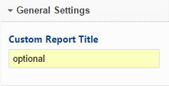Enter a Custom Report Title
