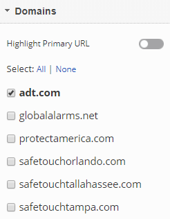 Select Domains URLs