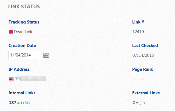 Link Status Dead Link does not exist on host