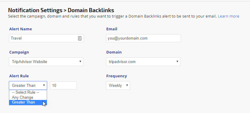 create new domain backlinks alert