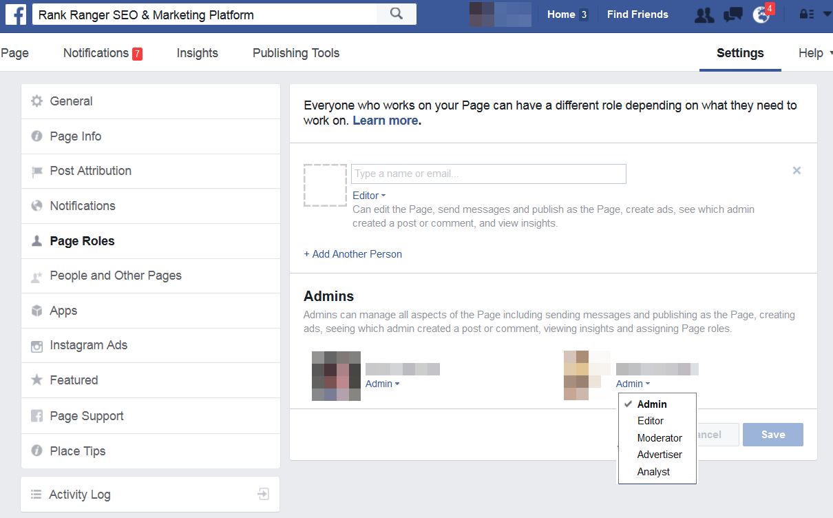 Facebook authorized page admins