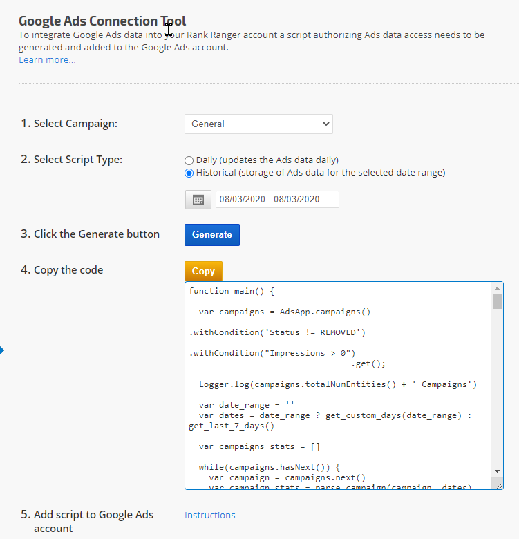 Integrate Historical Google Ads data