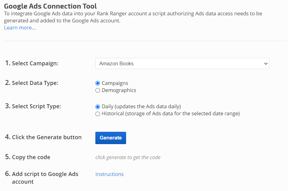 Google Ads Connection Tool