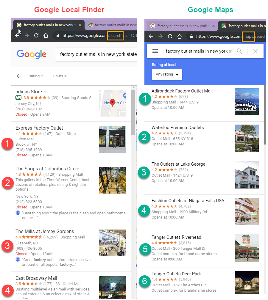 Google Maps Search Results | Rank Ranger