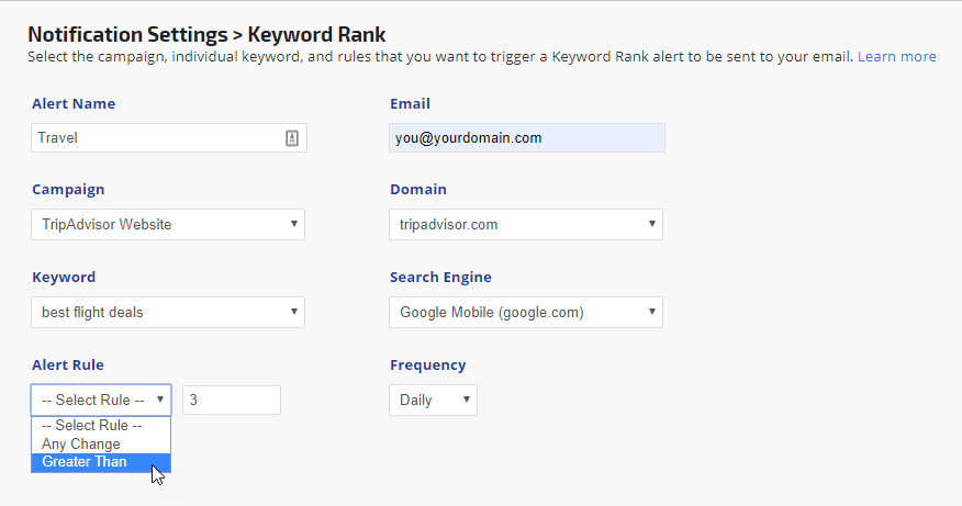 create new keyword rank alert