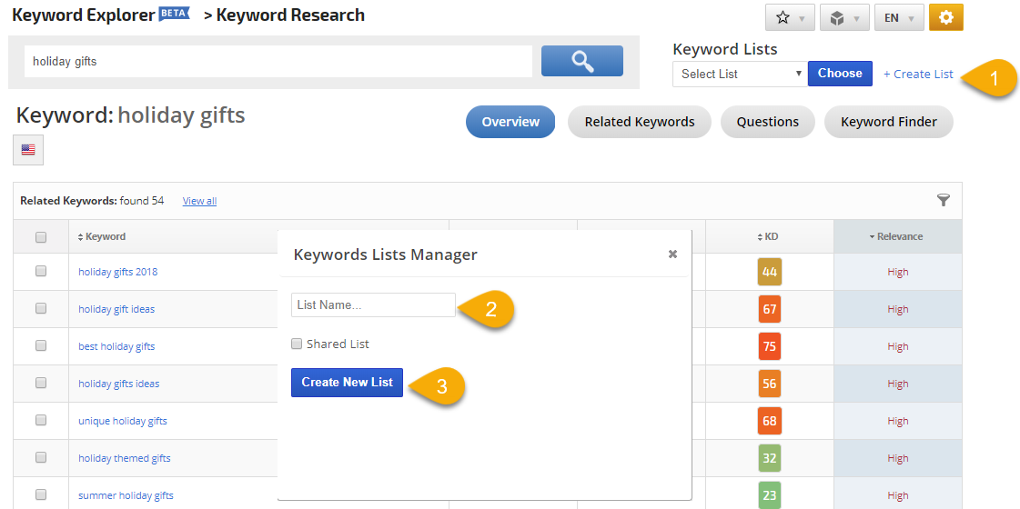 create a keyword list