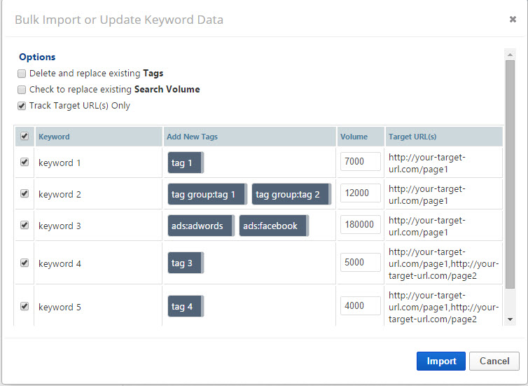 Bulk Import or Update Keyword Data