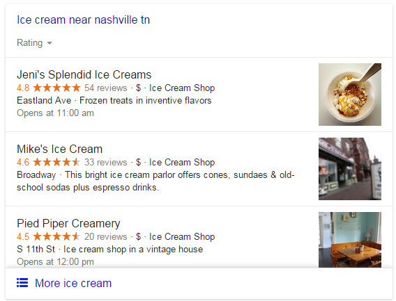 Example of Google's Local Pack Results Feature