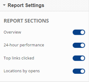 MailChimp Report Section Settings