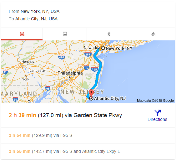 SERP Map Directions answer box