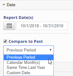 Date and compare to previous period settings