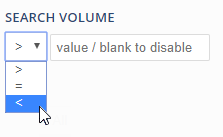 Search volume filter