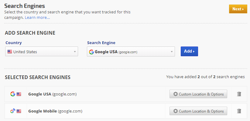 search engine settings