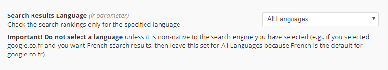 Search Results Language