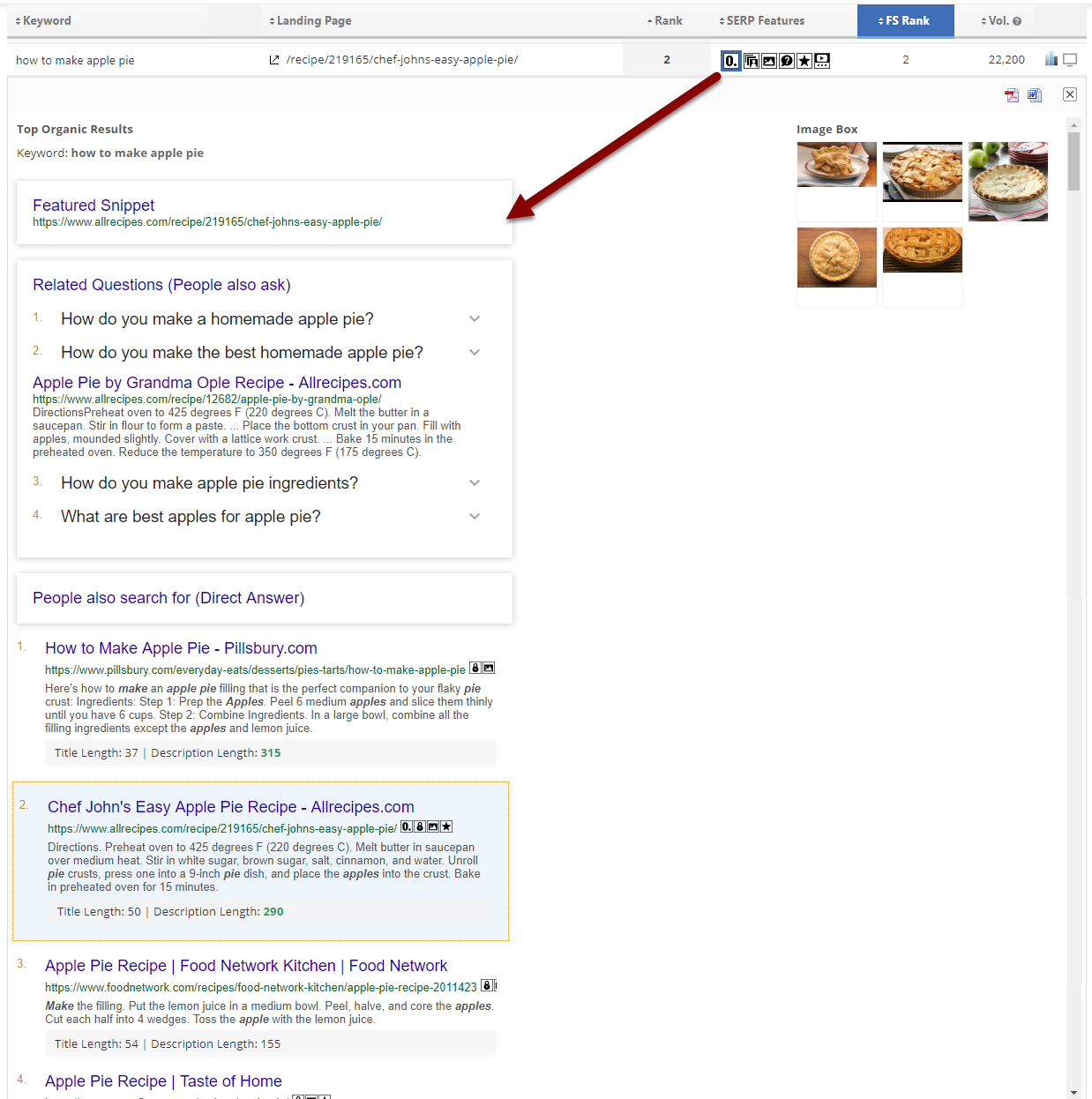 Featured Snippet in SERP Snapshot